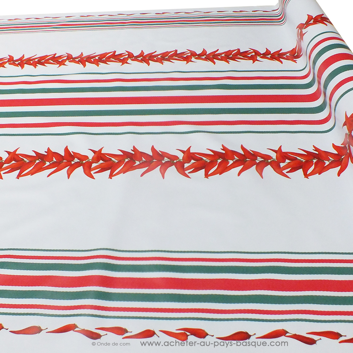 Nappes piments et rayures Basques rouges et vertes