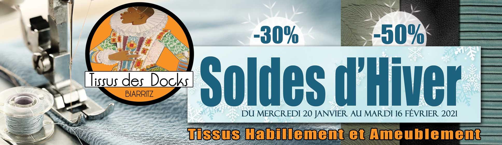 """Soldes hiver 2021 au """"tissus des docks"""" à Biarritz"""